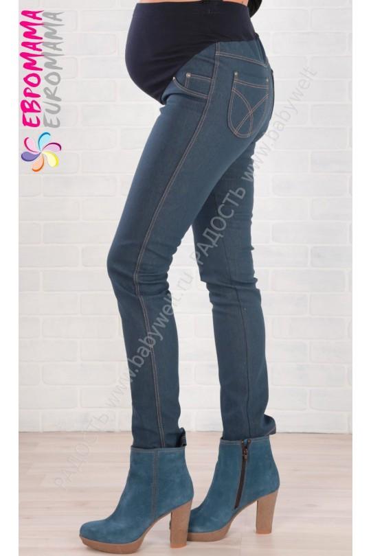 Брюки джинсовые на флисе ем 1713, Синий для беременных