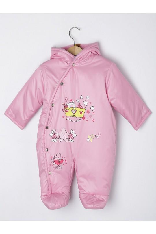 Комбинезон демисезонный мод.696 розовый/ голубой  мишки